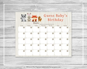 Woodland Animals Baby Shower Guess Baby's Birthday - Printable Baby Shower Guess Baby's Birthday Game - Woodland Animals Baby Shower - SP105