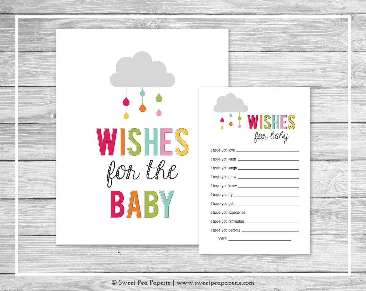 Baby Showers Cards ~ Rainbow showers baby shower wishes for cards printable