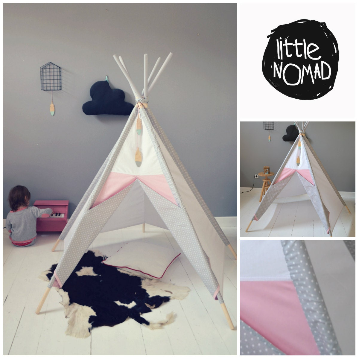 enfant tipi de fille wigwam enfants rose tente gris tipi. Black Bedroom Furniture Sets. Home Design Ideas