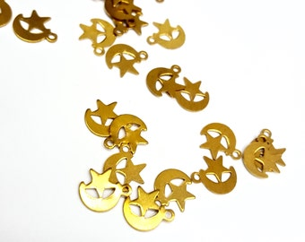 50 Pieces Tiny Moon and Star Celestial Charms, Raw Brass, Vintage, 10x8mm