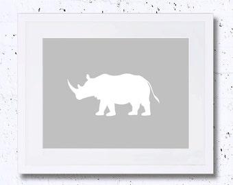 Rhinoceros, Rhino, White Rhinoceros Silhouette, Art Print, Nursery Animal Print, Printable Art, Downloadable, Wall Decor,Grey,Minimalist Art