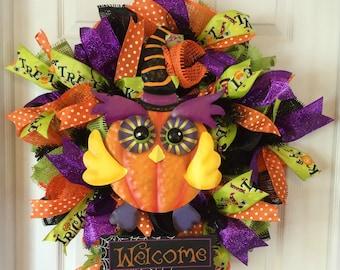 Halloween Wreath, Halloween Wreaths, Halloween Owl Wreath, Mesh Wreaths, Paper Mesh Wreath, Deco Mesh Wreath, Halloween Decoration