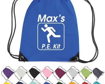 Personalised P.E. Kit Bag. Drawstring Gym Bag, Gym Kit, P.E. Bag. School Sports  * Free Delivery *