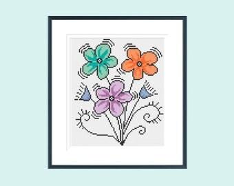 Cross stitch pattern, modern cross stitch pattern, flower cross stitch pattern, retro cross stitch pattern, instant download