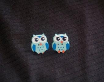 owl stud earrings-blue owl earrings-owl jewelry