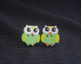 owl button earrings-green owl earrings-owl jewelry