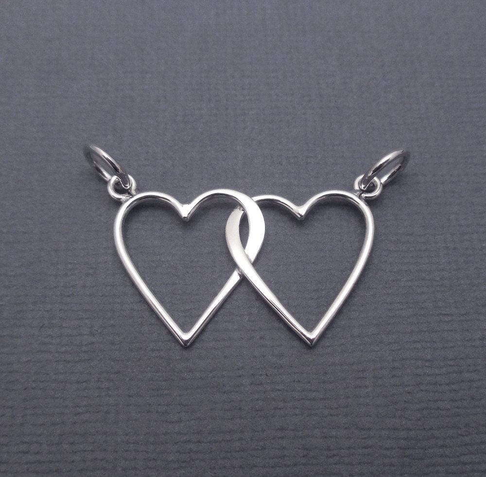 Linked Hearts Sterling Silver Interlocking Hearts Intertwined