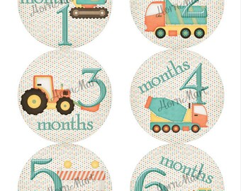 Construction Theme Monthly Baby Stickers