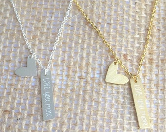 Love you more bar necklace, dainty necklace short gold silver
