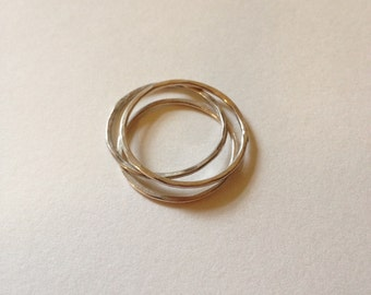 Set of three sterling silver textured stacker rings