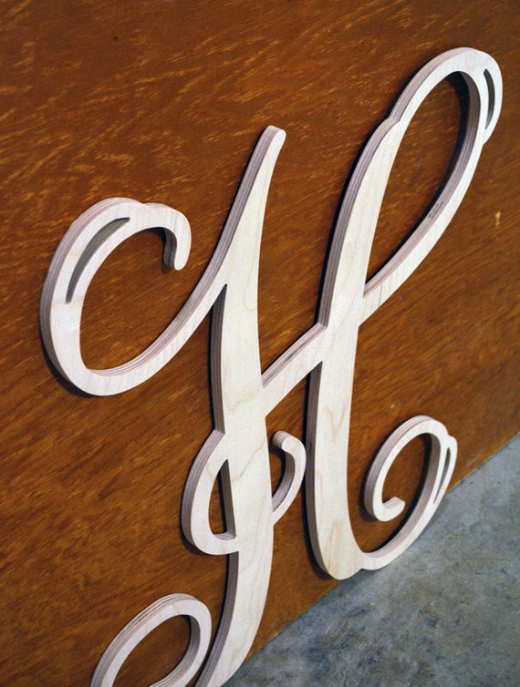 Single wooden letters in vine monogram font wood wall for Individual wooden letters