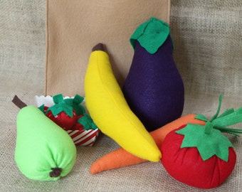Complete Felt Produce Set With Paper Grocery Bag (Size Large)