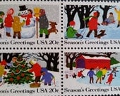 Christmas*Season's Greetings*Ice Skating*Building a Snowman*Snow Sledding*US Postage Stamps*Unused Mint Condition*Scott #2027-30*Plate Block