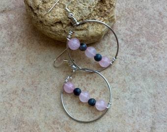Rose Quartz and labradorite silver hoop earrings