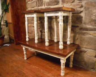 3 piece reclaimed barnwood coffee and end table set