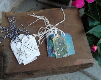 Gift Tags repurposed from vintage music and Monet cards, set of 10