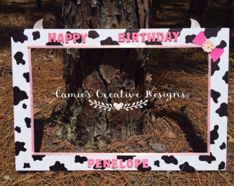 Cow Print & Pink accent photo prop frame
