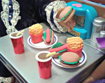 "10 Pieces Fast Food for Two and 2 Plates, fit for American Girl 18"" Dolls, Doll Food, 18 inch doll food"