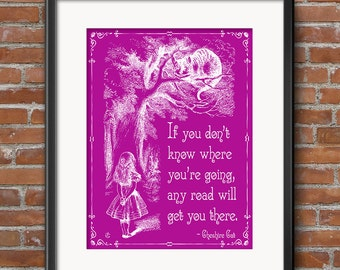 Alice in Wonderland Decorations Cheshire Cat Tail - Wonderland Party Decor - Any Road Will Take You There - Large Wall Art - 0252