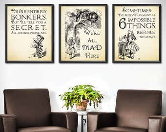 Alice in Wonderland Decorations - Mad Hatters Tea Party, Alice in Wonderland Wall Art Set of 3 Mad Hatter Quotes Wonderland Decor 0197