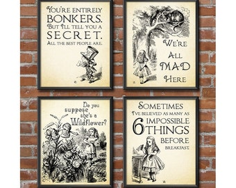 Alice in Wonderland Decorations - Mad Hatters Tea Party, Alice in Wonderland Wall Art Set of 4 Mad Hatter Quotes Wonderland Decor 0281