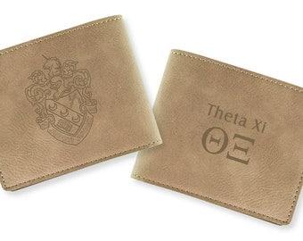 Theta Xi Engraved Wallet (light tan)