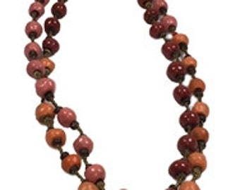 Gretchen Beaded Necklace in Dreamsicle Orange, Pink, and Red, handmade in Haiti