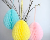 Honeycomb easter eggs decoration  set /  Easter decorations | spring Decor | easter tissue paper decor| spring party