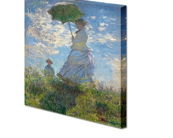 Woman with a Parasol Madame Monet and Her Son by Claude Monet Giclee Canvas Print - 20 x 16