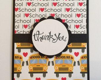 Handmade Teacher Thank You Card - I Love School