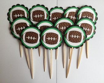 Handmade Football Cupcake Toppers - Set of 12