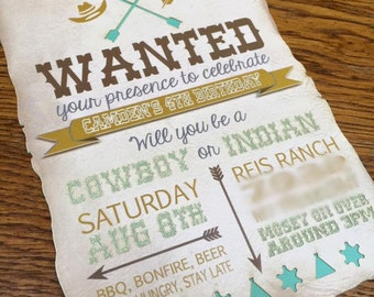 Cowboy and Indian Birthday Invitation - Laser Cut - Rustic - Invite