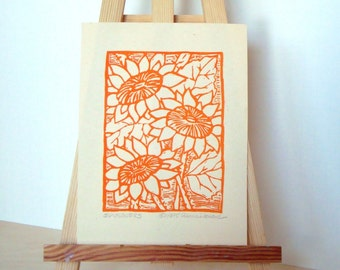 SUNFLOWERS Print - 4x5.5. Linoleum Prints Wall Art Flower Art Hand Printed Linocut Flower Print Block Prints Handmade Gifts
