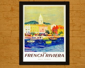 Get 1 Free Print, France Travel Print - South Of France Travel Poster French Print Travel Wall Art Home Wall Decor France Poster Hotel Decor