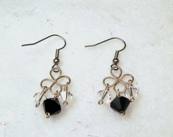 Swarovski black and clear crystal earrings / Silver wirework petite dangle earrings