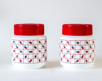 Retro Kitchen White and Red Glass Jars - Pair