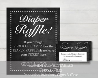 Diaper raffle, Diaper raffle ticket, Diaper raffle sign, Diaper raffle printable, Baby shower games, raffle cards, baby shower chalkboard