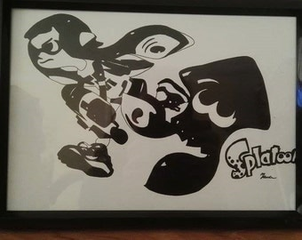 A4 Black and White Inkling and Squid - Splatoon (Lustre Print)