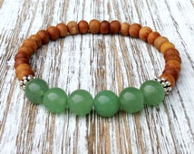 Green Aventurine & Sandalwood Wrist Mala Beads Yoga Bracelet, Spiritual Jewelry, Buddhist Zen Meditation, Chakra Mantra Intention, Yogi Gift
