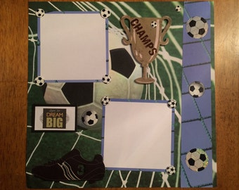 """12x12 Premade Scrapbook Page-""""Soccer"""""""