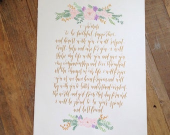 Custom Calligraphy Wedding Vows