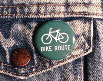 Bike Route Sign Pinback Button Pin Badge X2 1.25 Inch Handmade New Cycling Biking Bicycle Road Bike Path Sign Movement Pinback Buttons