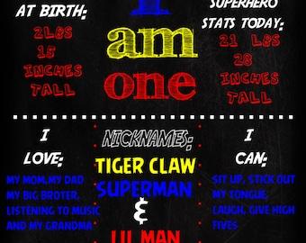 SALE!! Superhero 1st Birthday Chalkboard Poster