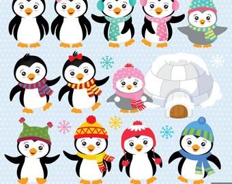 Winter Penguins Digital Clipart