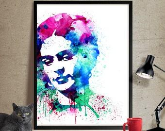 Frida Kahlo Watercolor Painting, Frida Kahlo Art, Wall Art Poster, Frida Kahlo Decor, Art Print, Frida Kahlo Print, Celebrity Portraits(140)