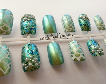 Mermaid hand painted false nails with pearls and silver beads