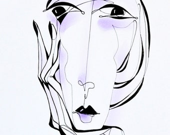 """Original ink drawing  """"Feeling""""– Ink pen drawing  - Black and With Ink Graphics"""