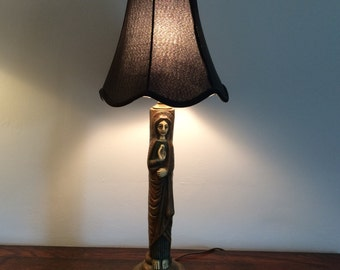 Carved Primitive Virgin Mary Table Lamp