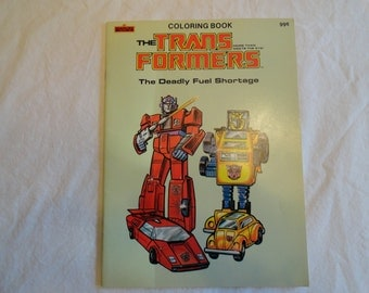 1984 Marvel Books Transformers The Deadly Fuel Shortage Coloring Book