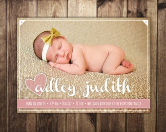 Newborn Baby Girl Birth Announcement Card - Script Name, Hearts & Ribbon